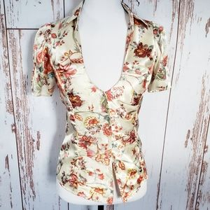 Vintage 90's Guess floral ruffle s junior's top
